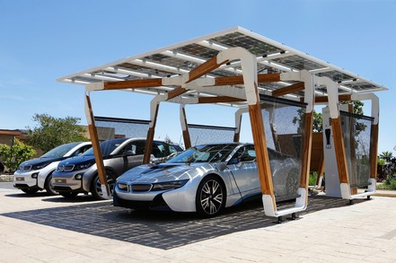 Car using solar panels to charge points