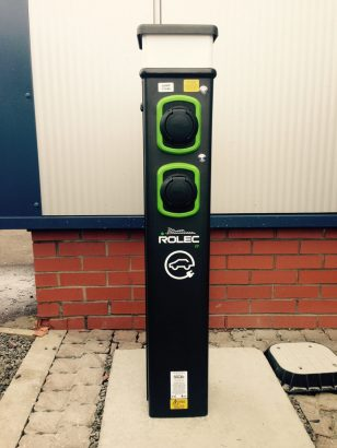 Rolec pedestal workplace charge point installed Scotland