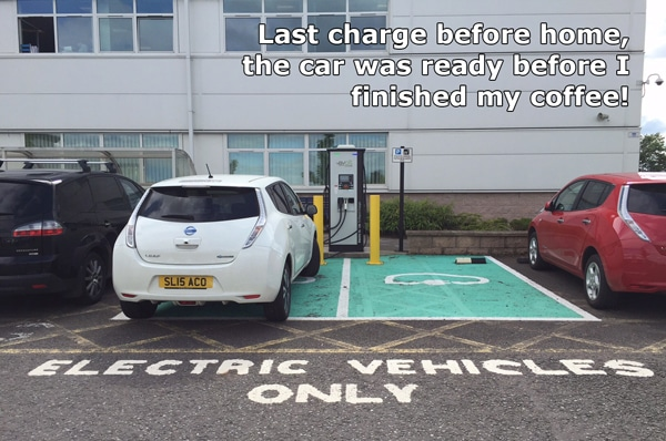 Last Nissan Leaf Charge point stop