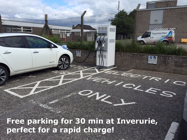 Nissan leaf using rapid charge point for 30 minutes